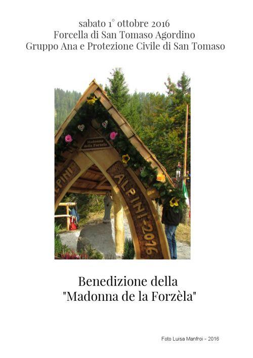La Madonna de la Forzèla - San Tomaso Agordino 1 ott. 2016