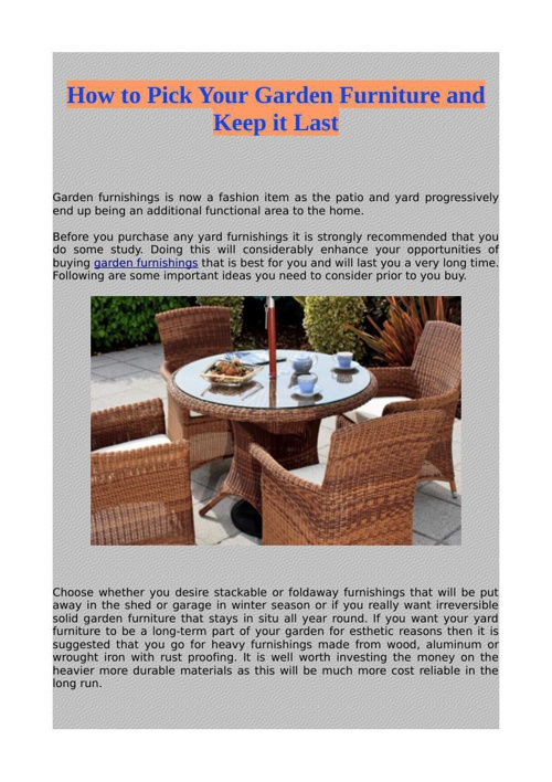 How to Pick Your Garden Furniture and Keep it Last