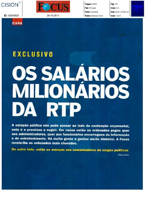 SALÁRIOS MILIONÁRIOS E NÃO SÓ...