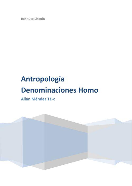 Antropologia Denominaciones Homo