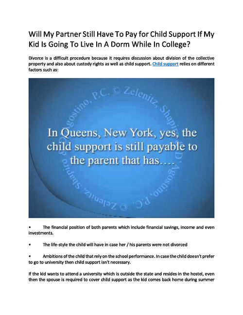 Must My Spouse Pay Child Support For Our Child That's Living In