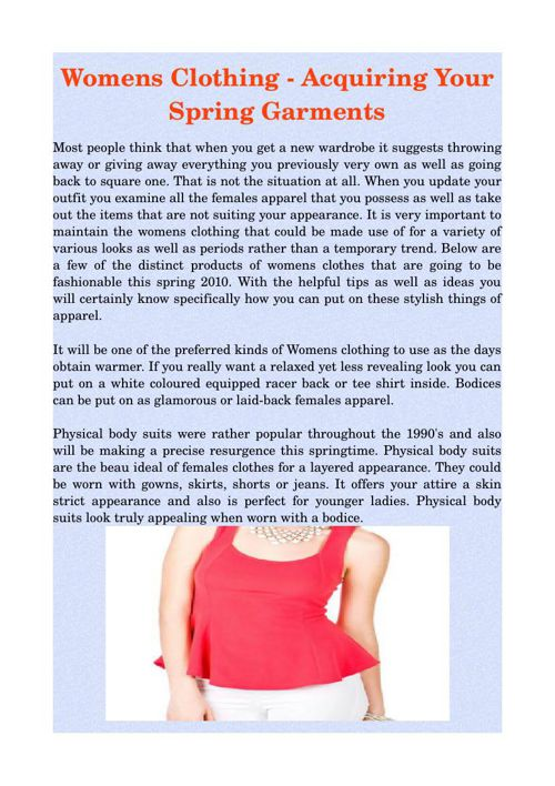 Womens Clothing - Acquiring Your Spring Garments