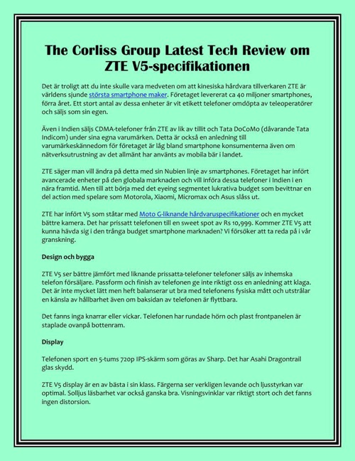 The Corliss Group Latest Tech Review om ZTE V5-specifikationen
