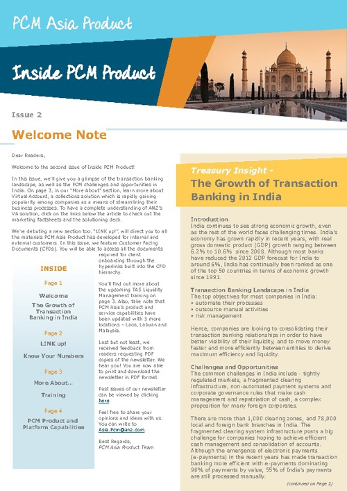 ANZ Inside PCM Newsletter Sept 2012