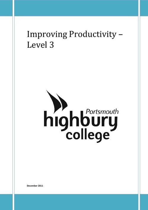 ITQ Level 3 Improving Productivity