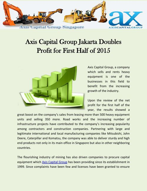 Axis Capital Group Jakarta Doubles Profit for First Half of 2015