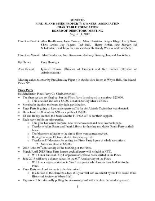 Foundation Minutes: August 11, 2012