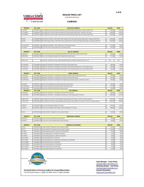 DEALER PRICE LIST- OCTOBER 2014