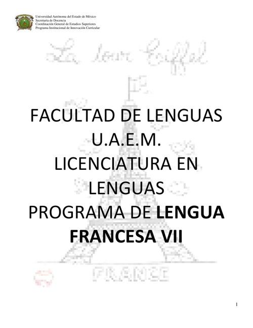 Programme Langue Francaise 7