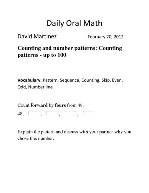 Daily Oral Math