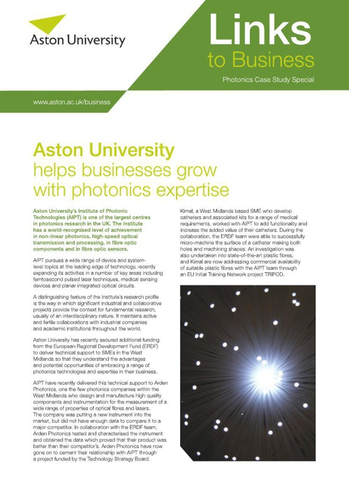 Aston Business Partnership Unit: Photonics Case Study Special