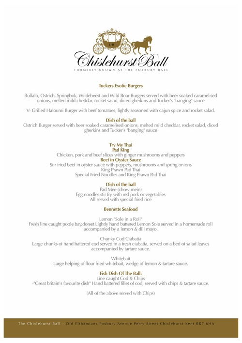 Chislehurst Ball Menu