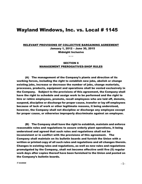 Contract Clauses - WAYLAND WINDOWS