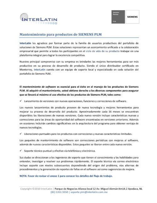 Soporte/Mantenimiento PLM