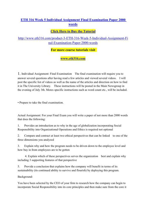 ETH 316 Week 5 Individual Assignment Final Examination Paper 200