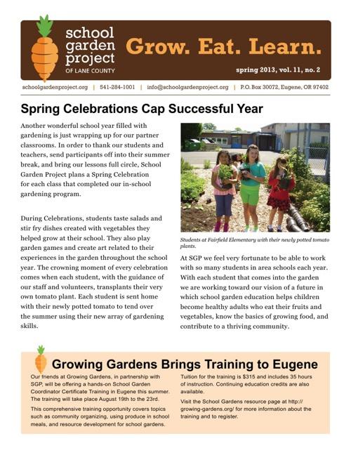 Spring/Summer Newsletter 2013