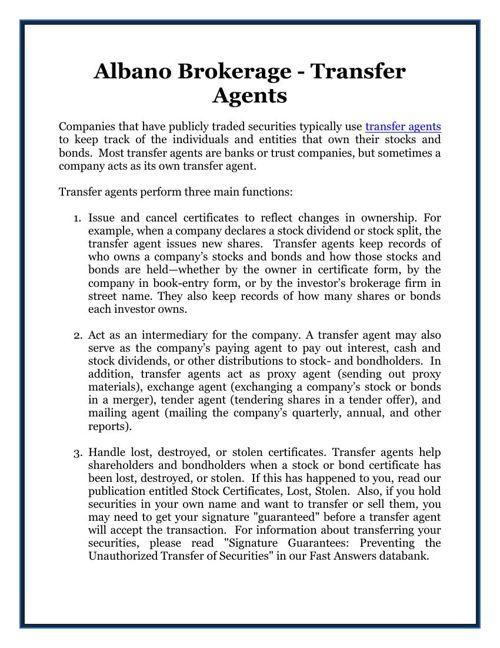 Albano Brokerage - Transfer Agents