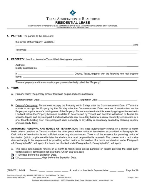 Providence Group Realty Sample Lease Agreement