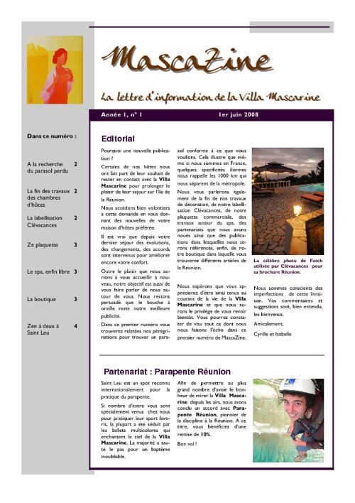 MascaZine, la newsletter de la Villa Mascarine