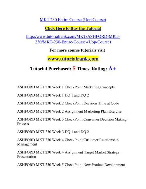 MKT 230 Slingshot Academy / Tutorialrank.Com