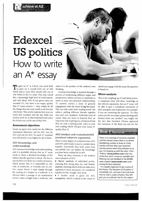 Edexcel US Politics - How to write an A* essay