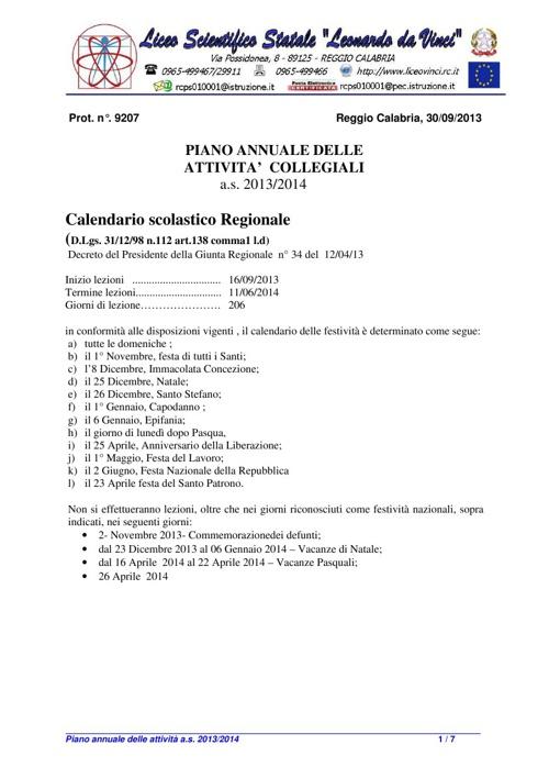 Piano delle attività 2013/2014