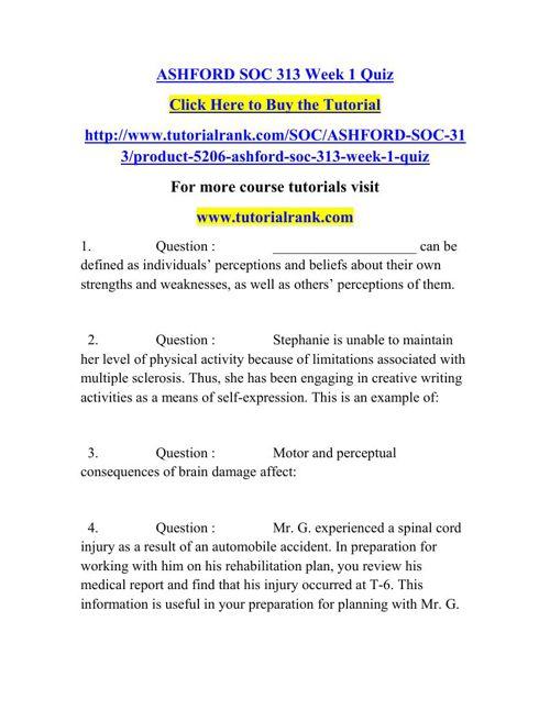 SOC 313 Learning Consultant / tutorialrank.com