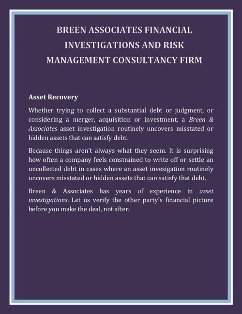 Breen Associates Financial Investigations and Risk Management Co
