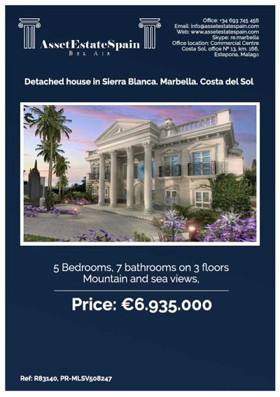 Detached house in Sierra Blanca, Marbella Spain. €6.9million