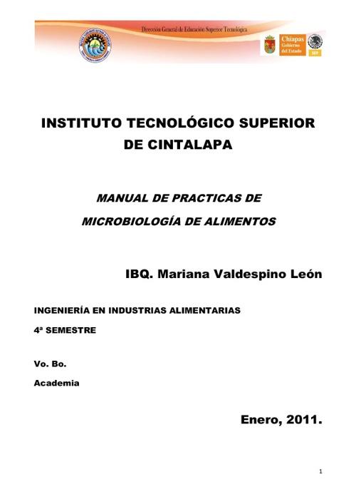 Manual de Prácticas de Microbiología de Alimentos