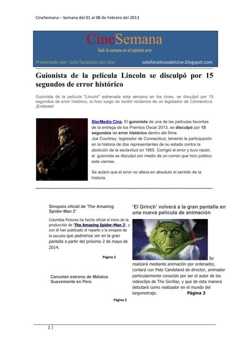 CineSemana (01/02 - 08/02)
