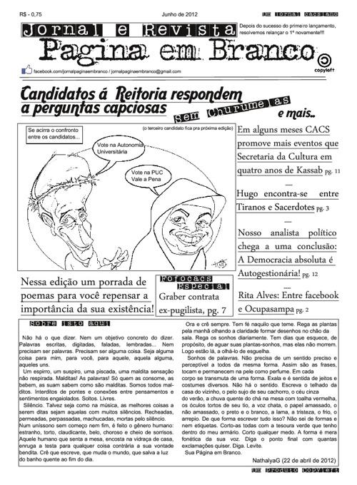 Jornal e Revista Pagina em Branco 1º edição