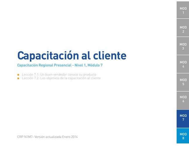 Módulo 7 - Capacitación al cliente