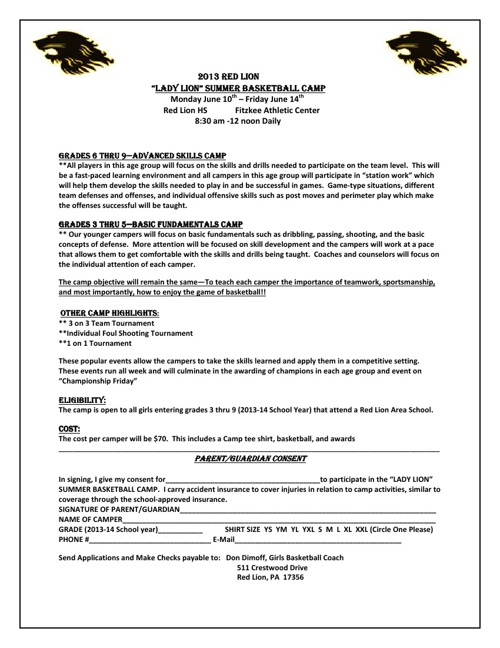 2013 Athletic Summer Camps