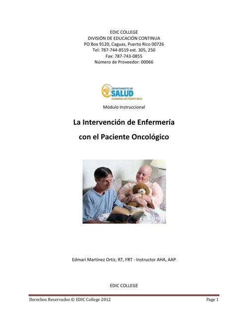 intervencion de  enfermeria al paciente oncologico