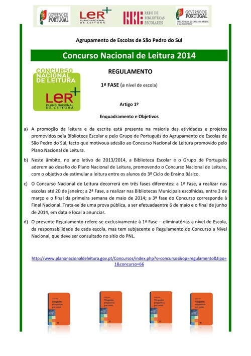Regulamento do Concurso Nacional de Leitura 2014