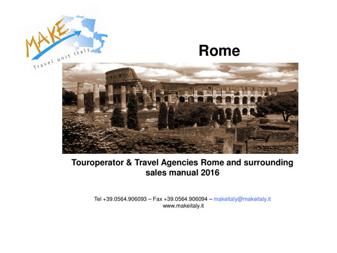 TO & Travel Agencies sales manual Rome