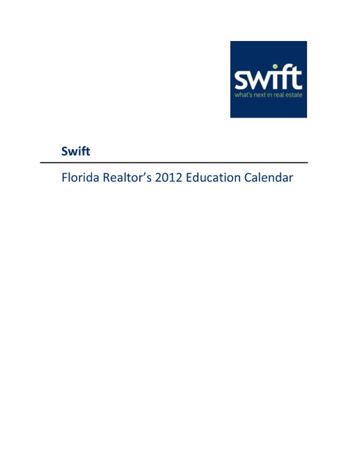Florida Realtor's 2012 Education Calendar