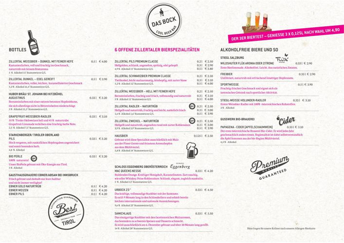 "Bierkarte Hotelbar ""Das Bock"" Sommer2015"