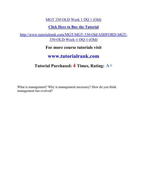 MGT 330 Academic Professor / tutorialrank.com