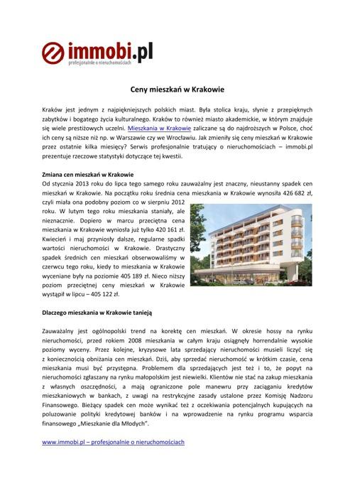 Mieszkania w Krakowie