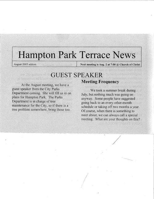 HPT Newsletter August 2005