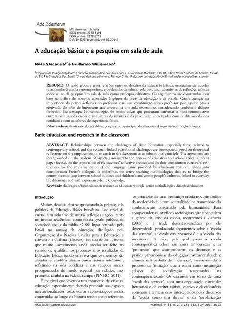 A educação básica e a pesquisa em sala de aula publicado