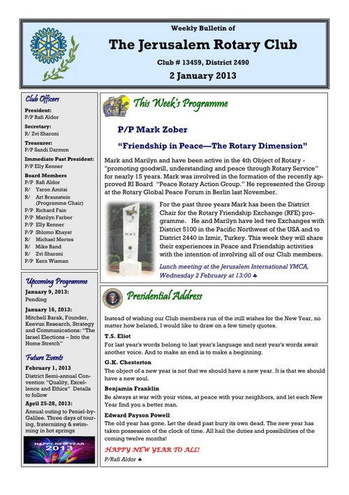 Jerusalem Rotary Club Bulletin January 2, 2013
