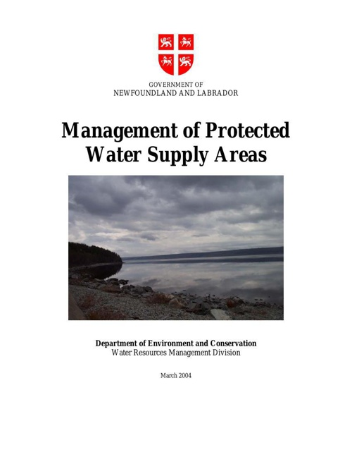 MANAGEMENT OF PROTECTED WATER SUPPLY AREAS