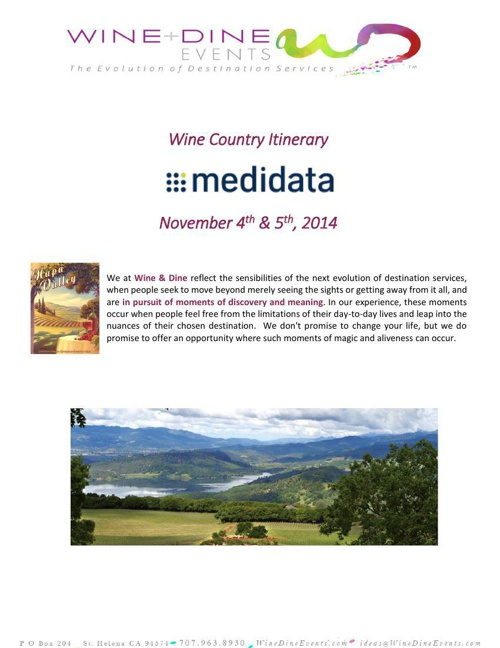Medidate Solutions Itinerary