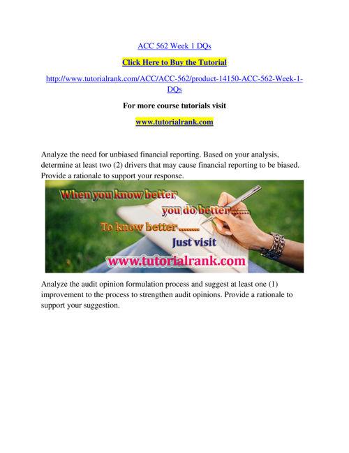 ACC 562 Course Success Begins / tutorialrank.com