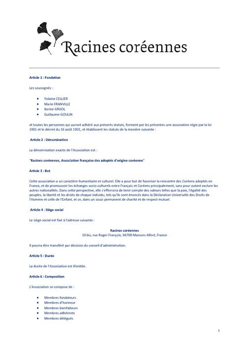 Statuts Racines coréennes, AGE du 1er février 2012
