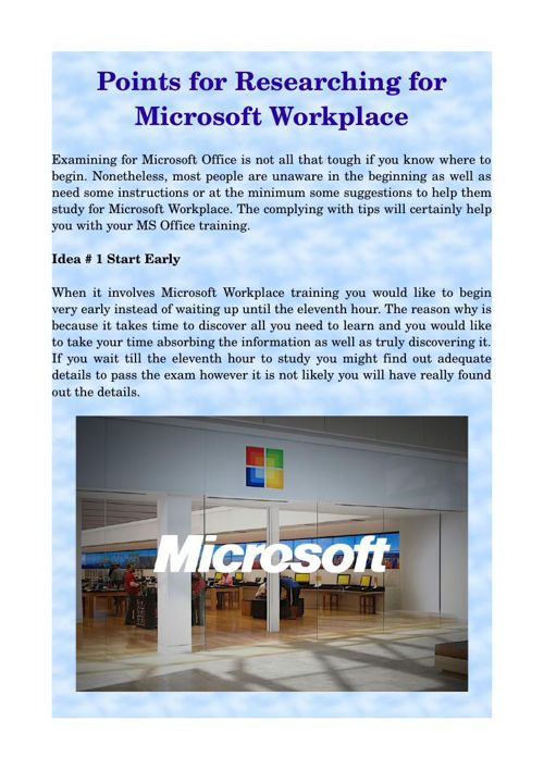 Points for Researching for Microsoft Workplace