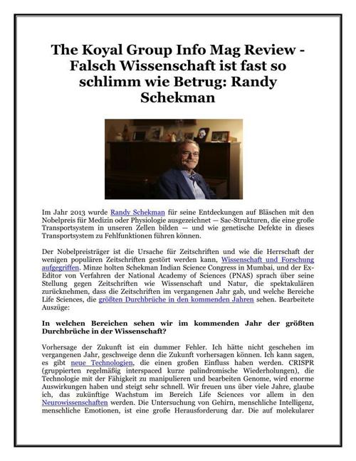 The Koyal Group Info Mag Review - Falsch Wissenschaft ist fast s